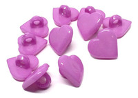 Heart Shaped Shank Button - Orchid Purple