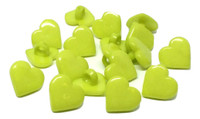 Heart Shaped Shank Button - Lime Green