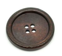 Round Extra Large Wood Button Four Hole Dark Brown Colour 40 mm