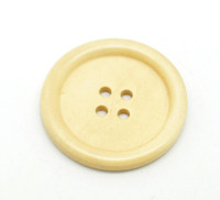 Round Extra Large Wood Button Four Hole Natural Pine Colour 40 mm