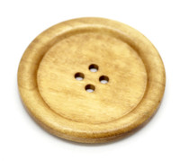 Round Extra Large Wood Button Four Hole Natural Pine Colour 5 cm