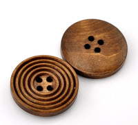 Round Ridged Design Wood Button Four Hole Coffee Colour 25mm