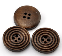 Round Ridged Design Wood Button Four Hole Dark Brown Colour 20mm