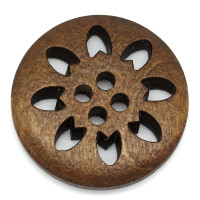 Round Laser Cut Snowflake Wood Button Four Hole Dark Brown 25mm