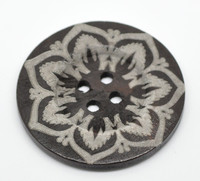 Dark Brown 4 Hole Flower Pattern 6cm Button