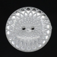 Round Silver/White Two Holes Patterned Button  26.0mm
