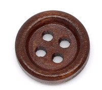 Round Wood Button Four Hole Dark Brown Colour 15mm