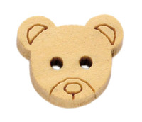 Mini Teddy Bear Head Shaped Wooden Button 2 hole 13mm