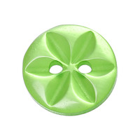 Round Green Two Holes Button with Flower Marking 14.0mm