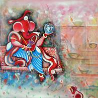 Ganesh sitting on a swing