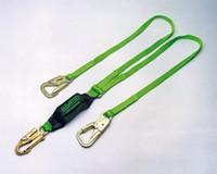 Miller 6' StretchStop Double Leg Lanyard w/ SofStop Shock Asborber w/1 Snap Hook & 2 Rebard Hooks - 8798B/6FTGN