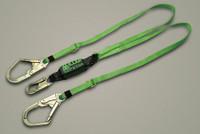 Miller Adjustable 6' Double Leg Lanyard w/ 2 Locking Rebar Hooks Lanyard w/SofStop -8878-6R/6FTYL