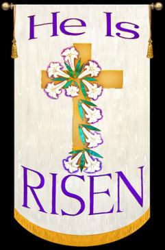 He is Risen - Cross on White - Easter Sunday Banner
