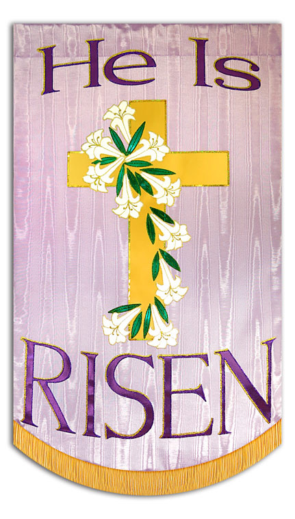 He is Risen Cross Lavender - Christian Banners for Praise ...