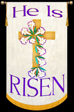 SALE BANNER - He is Risen Cross on White - 4' x 30""
