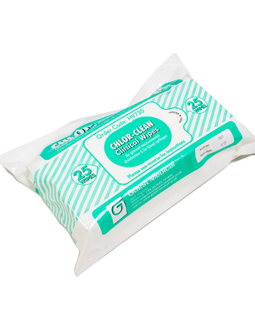Chlor-Clean Clinical Wipes | 25 Pack | Physical Sports First Aid