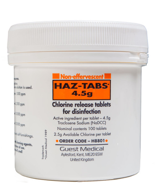 Haz-Tab Chlorine Release Tablets 4.5g | Pack of 100 | Physical Sports First Aid
