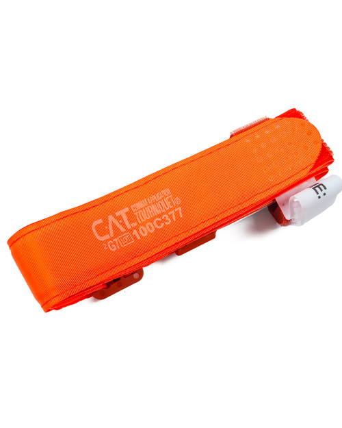 Combat Application Tourniquet, Orange   Flat Side   Physical Sports First Aid