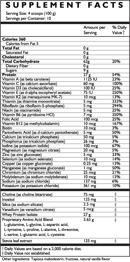 French Vanilla Supplement Facts