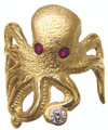 "Octupus ring - 14k gold with rubies and diamonds.  20pt in rubies and 10pt diamond. This design is called ""Stretch""."