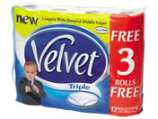 Buy Triple Velvet White Toilet Tissue PK9+3 (843393) sold by eSuppliesMedical.co.uk