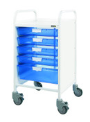Buy VISTA 50 Trolley - 4 Single / 1 Double Depth Blue Trays (Sun-MPT2) sold by eSuppliesMedical.co.uk