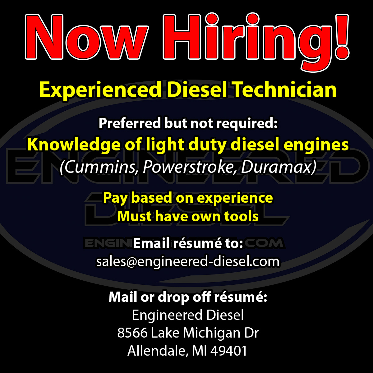 Diesel Technician - Now Hiring