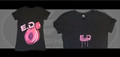 Women's V Neck T Shirt Pink Splatter with Turbo - on Charcoal Tri-Color