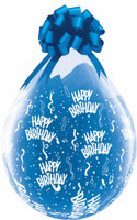 "Qualatex 18"" Stuffing Balloon, CLEAR  Happy Birthday A Round PRINT"