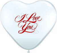 Qualatex 11 or 6 inch Heart Shape Balloon, CLEAR WITH I LOVE YOU script