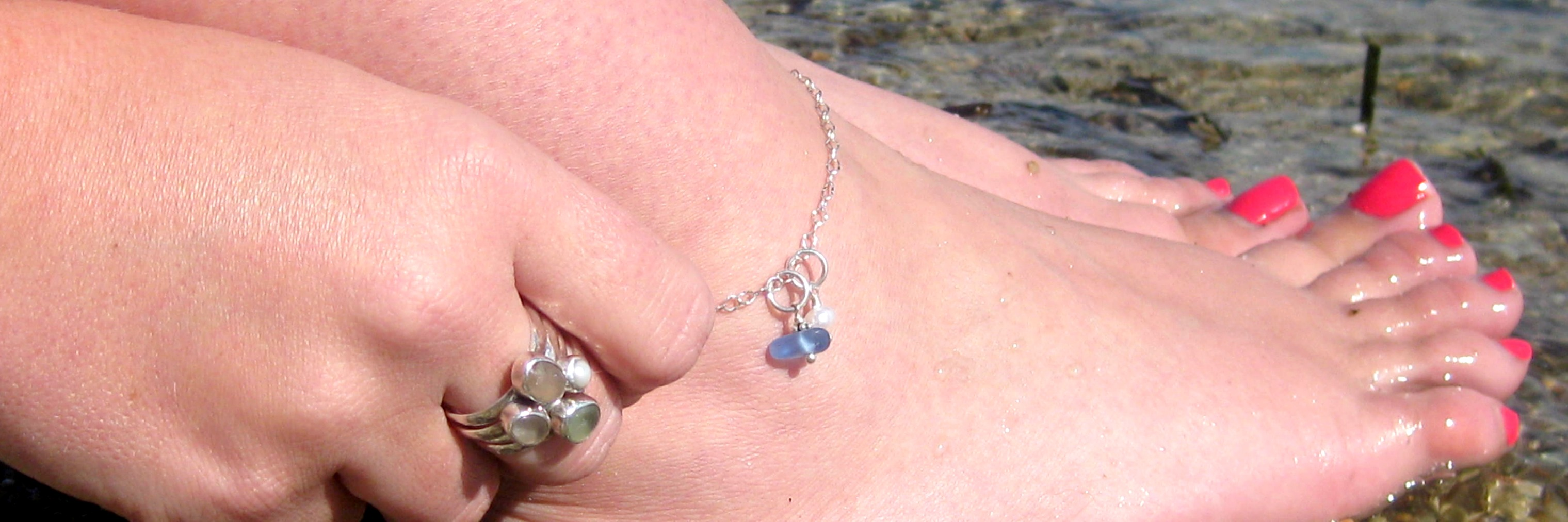 artisan feminine images and flattering pinterest sterling anklets glass sea by on anklet silver driftinjewelry best