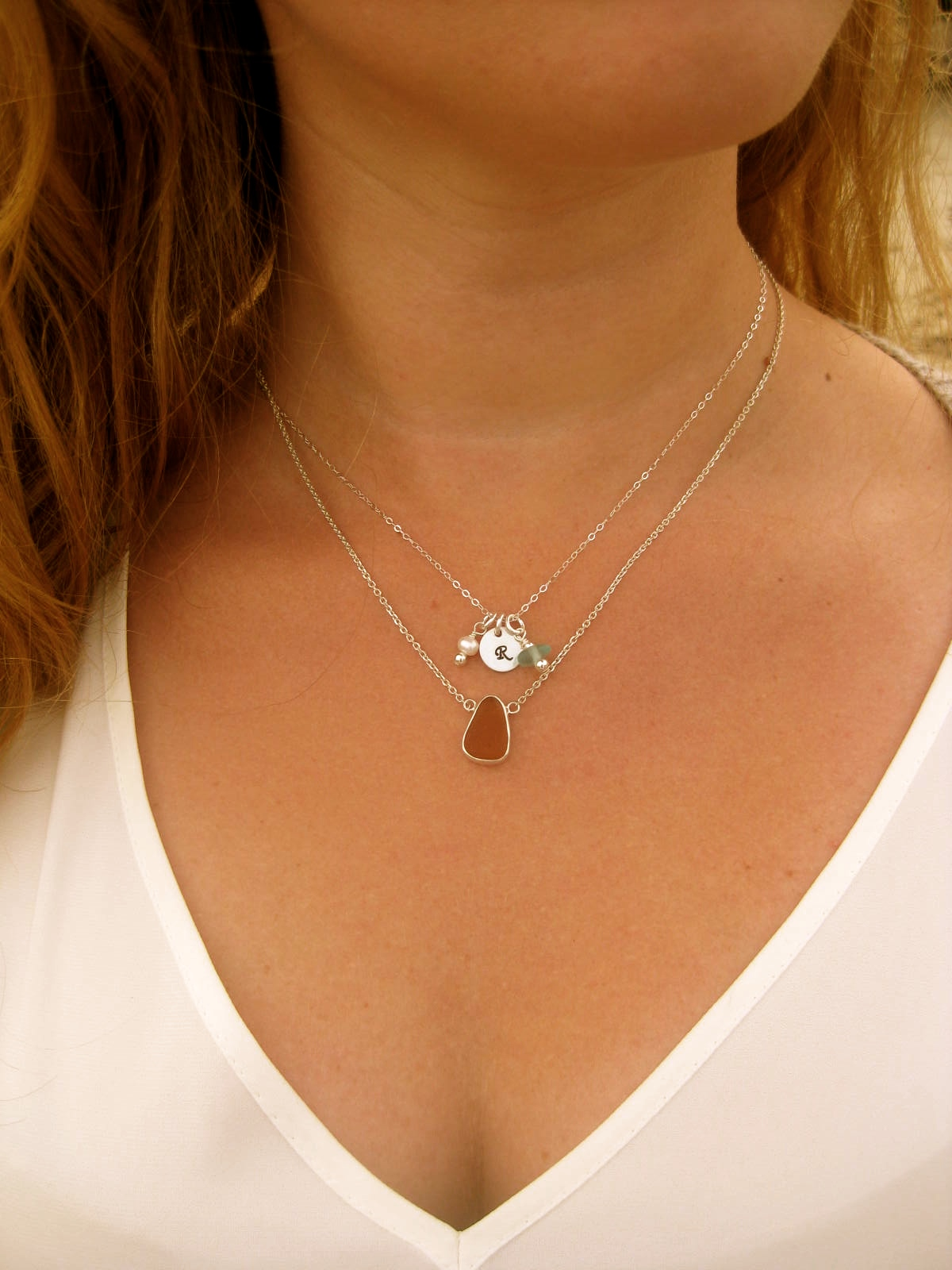 Custom Sea Glass Initial Necklace Layered With A Sterling Silver Simple  Drop Sea Glass Necklace.