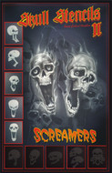 Screamer Skull Airbrush Stencils Set A (5) stencils