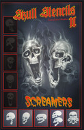 Screamer Skull Airbrush Stencils Set B (5) stencils