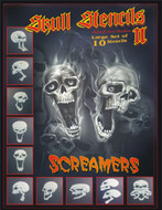 Screamer Skull Airbrush Stencils Full Set of 10