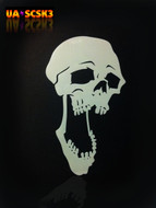 Screamer Skull Airbrush Stencil #3