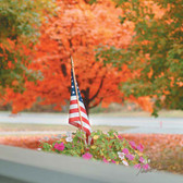 American Flag Autumn in the Garden Artwork Cleaning Cloth