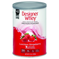 Designer Whey Protein Powder - Natural Whey - Luscious Strawberry - 12 Oz