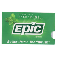 Epic Dental Spearmint Gum - Xylitol Sweetened - Case Of 12 - 12 Pack