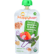 Happy Baby Food - Organic - Hearty Meals - Amaranth Ratauille - 7 Plus Months - Stage 3 - 4 Oz - Case Of 16