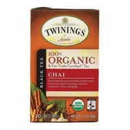 Twinings Tea - 100 Percent Organic - Chai - 20 Bags - Case Of 6