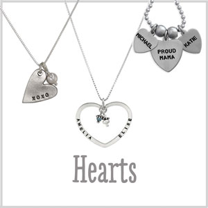 Hand Stamped Heart Necklaces
