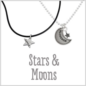 Hand stamped moon jewelry