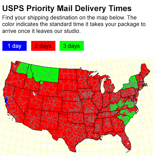 Us Postal Map - Us postal service delivery times map