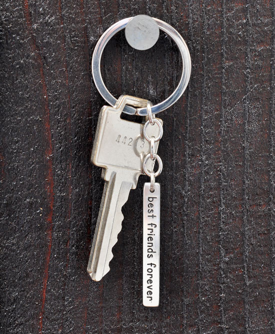Hand stamped best friends key ring