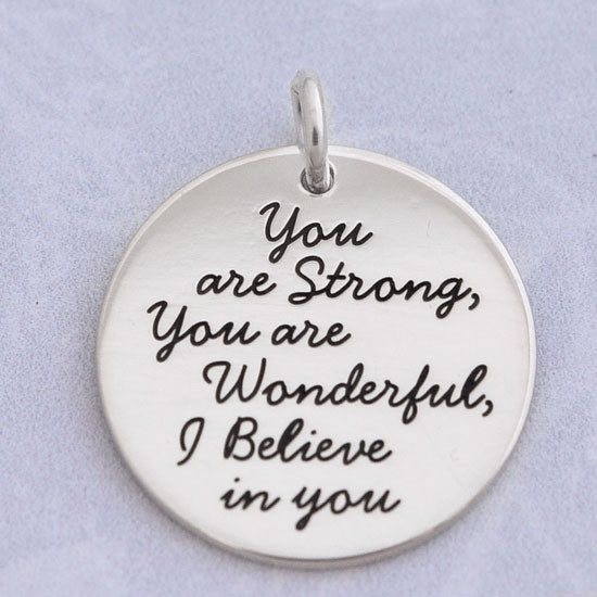 Your custom quote on a personalized charm