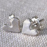 """Loved"" handmade fine silver heart earrings"