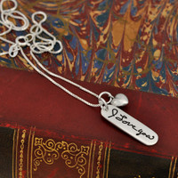Handwriting Jewelry Charm - Mom Tag in Sterling Silver