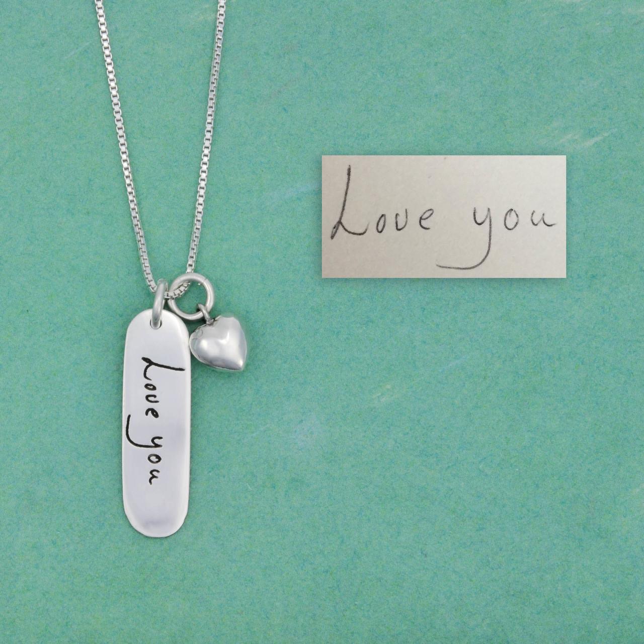 Handwriting memorial necklace