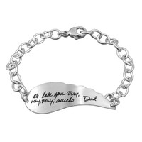 Handwriting Bracelet Custom Made with Handwriting From a Loved One in silver angel wing